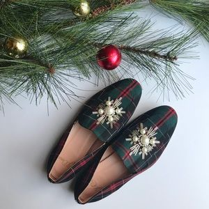 J.Crew Holiday Plaid Shoes with embellishments